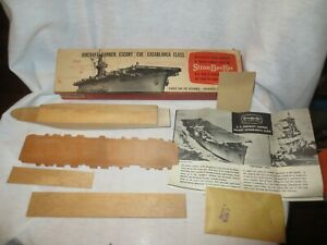 VINTAGE STROMBECKER AIRCRAFT CARRIER  U.S.S. GAMBIER BAY  WOODEN MODEL BOAT
