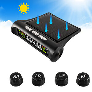 Solar Power Tire Pressure Monitoring System Wireless TPMS Monitor+Externa Sensor