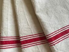 Antique French Red Striped Towel - Pure Linen Towel - Unused
