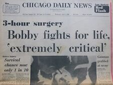 BOBBY KENNEDY FIGHTS FOR LIFE, 'EXTREMELY CRITICAL' 3 HOUR SURGERY June 5 1968