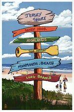 Jersey Shore Destination Signpost New Jersey Monmouth Beach etc. Modern Postcard
