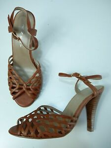 WOMENS NEXT UK 3 EU 35.5 BROWN FAUX LEATHER ANKLE STRAP HIGH HEEL SUMMER SANDALS