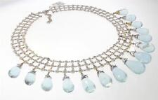 14KT WHITE GOLD 143.21 CTTW AQUAMARINE DIAMOND NECKLACE 15 IN CERT (M 999-10010)