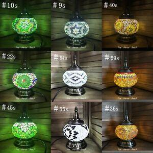 Turkish Lamp GREEN WHITE GOLD Glass Lamp Mosaic Light Handmade Brass Free LED