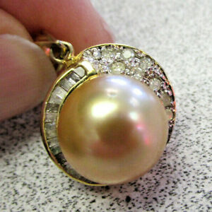 Estate Large Golden Pearl and Diamond Pendant 14k Gold     NO RESERVE