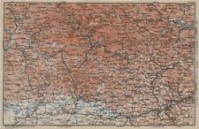 Bayrischerwald. Foresta Bavarese CHAM Passau Böhmerwald Karte. BAEDEKER 1914 carta