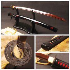 Handmade Red Blade Samurai Sword Japanese Katana Folded Steel Battle Ready Sharp