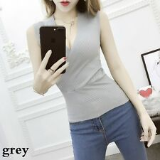 ladies Deep V Neck Vest Stretch Tank Top Camisole Loose Tops Knitted Cotton New