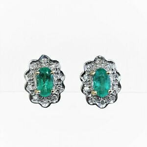 NATURAL EMERALD EARRINGS GENUINE DIAMONDS 9K GOLD GIFT BOXED MAY BIRTHSTONE NEW