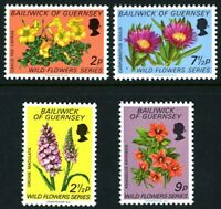 GUERNSEY 1972 WILD FLOWERS SET OF ALL 4 COMMEMORATIVE STAMPS MNH (H)