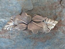 Leafs Antiqued Brass French Clip Hair Barrette Clip made in USA 6032B