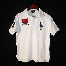 Polo Ralph Lauren China Flag Big Pony Number 3 Custom Fit White Polo Shirt