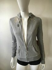 NWT WOMEN'S GREY TRUE RELIGION BRAND GOLD RAYS FULL ZIP HOODIE SIZE XS