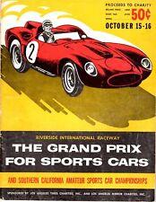 Riverside Grand Prix For Sportscars 1960 Program - Autographed