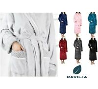 Women Plush Warm Fleece Robe with Satin Waffle Trim Long Spa Night Bathrobe