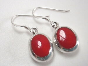 Reversible Red Coral and Cream Mother of Pearl Sterling Silver Oval Earrings