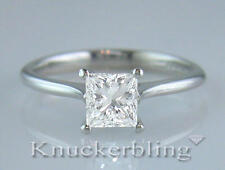 Diamond & Platinum Ring Princess Cut Solitaire 0.50ct Certificated D IF VG