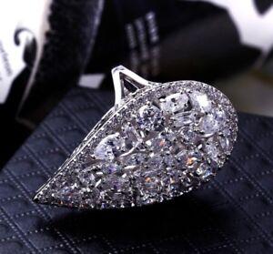 18k White Gold Big Ring made w Swarovski Crystal Topaz Stone Index Ring Bridal