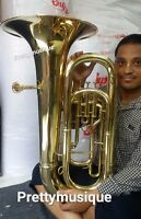TUBA ( EB PITCH ) OF PURE BRASS IN GOLD POLISH + HARD CASE BOX +FREE SHIPPING