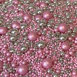 PINK & SILVER VARIOUS SIZES EDIBLE SPRINKLES SUGAR PEARLS CAKE DECORATIONS BABY