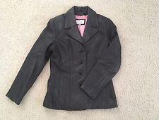 Womens WILSONS Maxima Black LEATHER Jacket, Size Medium, Pink Lining VGUC