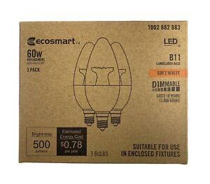 Ecosmart 60 Watt Equivalent 6.5W Dimmable LED Candelabra Base 500 LM Bulbs 3 Pc