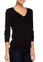 J Brand Deep V-Neck Cashmere Sweater Black XS NWT $268