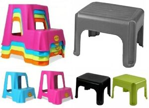 Plastic Dual Step Up Stool Children Kids Ladders Kitchen Toilet Potty Training