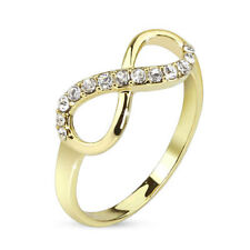 Infinite Infinity Pave Gemmed Brass Ring With 14 Kt Gold Plating