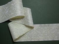 "Ivory and Gold Wide Jacquard Woven Ribbon Trim Braid 2.5""/60mm PER METRE"