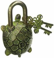 ANTIQUE Style TORTOISE Type Padlock - Lock with Key - Brass Made - Black (5049)