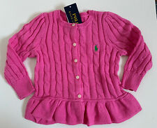 Polo Ralph Lauren Authentic Girls Pink Sweater Jacket Size S (7)