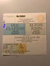 ERIC CLAPTON - ELTON JOHN  CONCERT TICKET, 27/6/92 LONDON WEMBLEY ARENA