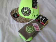 NEW MENS UNDER ARMOUR CAPT AMERICA ALTER EGO BALLCAP+SOCKS COMBO MD/LG FREE SHIP