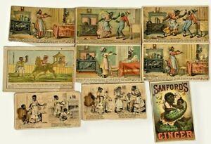 Lot Of Vintage Trade Cards Sanfords Ginger, Arm & Hammer,Morse Bros Stove Polish
