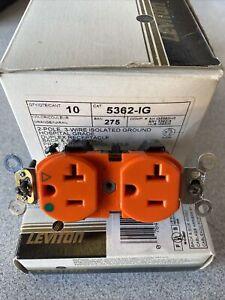 BOX OF 10 LEVITON 5362-IG 2P 3W Isolated Ground Hospital Grade 20A 125V