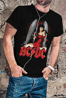 AC/DC Men Black T-Shirt ACDC Rock Band Fan Bobmb Girl Tee Shirt
