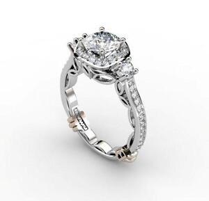 High End Designer BABIKI Victorian Collection Round Diamond Semi Mount; PLATINUM