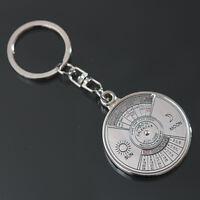 Stylish 50 Year Calendar Key Chain Keyring Keyfob Metal Alloy Ring Compass 、B Bw