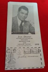 Jack Dempsey 1939 Autographed / Hand Signed Menu New York World's Fair