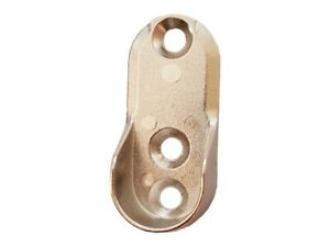 OVAL WARDROBE RAIL END SUPPORTS Brackets 3 Hole 15mm Wide Nickel Plated Silver