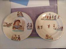 Lot of 2 Opaque Luneville Children's Nursery Rhyme plates 7.5  w/ gold edge rim