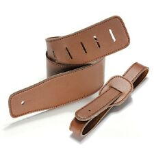 Vintage Extra Wide Soft PU Leather Guitar Strap with Buckle Brown