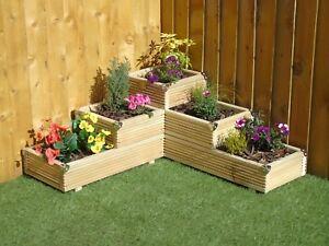 Large 3 Tiered Corner Garden Level Steps Wooden Decking Patio Planter Trough