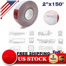 New listing 2�x150' Red + White Approved Dot-C2 Reflective Conspicuity Car Trailer Safe Tape