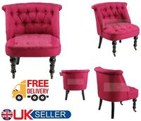 Antique Rose Red Tub Chair Sofa Lined Polyester Fabric Lounge Bedroom Armchair