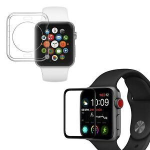 Protection en Verre trempé 3D noir + coque de protection pour Apple Watch 42 mm