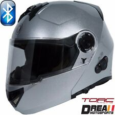 TORC T27B BLUETOOTH GLOSSY SILVER SOLID MODULAR FLIP MOTORCYCLE HELMET DOT XS-XL