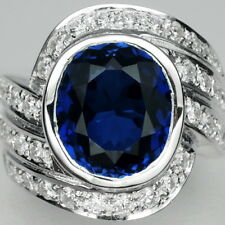 REMARKABLE! BLUE SAPPHIRE & WHITE SAPPHIRE STERLING 925 SILVER RING SIZE 6.75