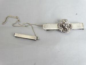 Sterling Silver .950 Money Clip Jerusalem With Belt Chain W Maltese Cross